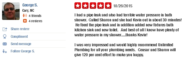 Unlimited Plumbing in Raleigh NC reviews